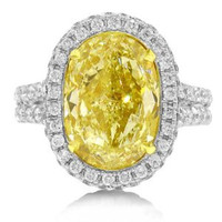 7.69 ct Oval Fancy Intense Yellow Diamond Ring