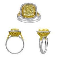 5.17 Ct Fancy Diamond & Platinum Ring (fy 4.01ct, Rd 0.62ct, Fy 0.54ct)