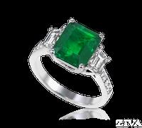 Ziva Emerald Cut Emerald Ring with Trapezoid Diamonds