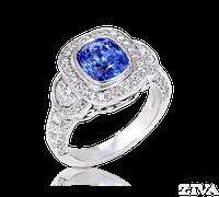 Ziva Vintage Sapphire Ring with Moon Shape & Pave Diamonds