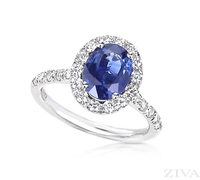 Ziva Sapphire Ring with Diamond Halo