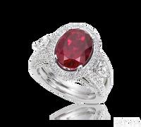 Ziva Rubelite Tourmaline Ring with Pave Halo & Split Shank