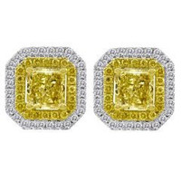 1.49 Cttw Diamond Stud Earrings (rd 0.28cttw, Ydrd 0.21cttw, Ydrad 1.00cttw)
