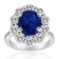 5.41 Ct Sapphire & Diamond Ring (rd 1.98ct, Sp 3.43ct)