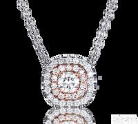 Ziva Double Halo Diamond Necklace in White & Rose Gold