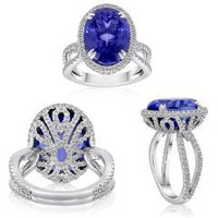 11.82 Ct Tanzanite & Diamond Split Shank Ring (rd 1.19ct, Tz 10.63ct)