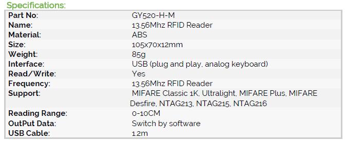 13 56Mhz RFID Reader, Output UID configurable,Support MIFARE Classic,  DESFire EV1, Plus, NTAG