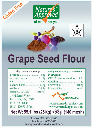 All Natural Gluten Free Grapeseed Flour  55lb bag
