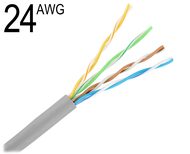 CAT5 24 Gauge 4 Pair Unshielded Solid Bare Copper Wiring Grey,  M24/4PRS-CAT5E