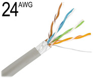 CAT5 24 Gauge 4 Pair with Shielded Solid Bare Copper Wiring Grey,  M24/4PRF-CAT5