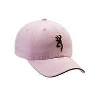 Browning Twill Cap with 3-D Buckmark and Pipe Brim, Pink/Brown, Semi-Fitted (308304211)