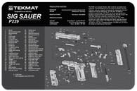 """TekMat SIG SAUER P229 11""""x17"""" Gun Cleaning Mat W/Exploded Parts View (17-SIGP229)"""