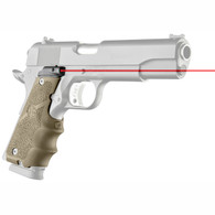 Hogue 1911 Government Laser Enhanced Rubber Grip With Finger Grooves-FDE (45083)