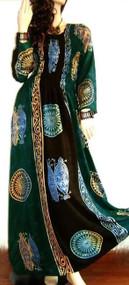 Tribal Long Kaftan Party Dress Strech Maxi Ladies Gypsy Latino Smocked Sexy Club