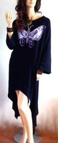 SALE New SWING Handmade Black Purple Butterfly Blouse Tunic Long Top  22 24 26 F