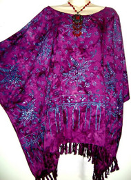 SARAWAK 100% Rayon Buttersoft Kaftan Top Plus Blouse in Black, Blue, Orange and Purple - Fits many sizes