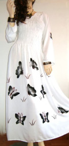 White Buttersoft Long Sleeved Smocked Dress with Hand Painted Butterflies - Freesize