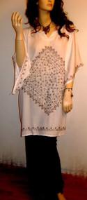 GLAM White Blouse Shirt Embroidered Short Kaftan - UK 16 18 20 22 24 Freesize