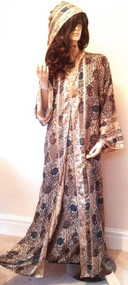 Moroccan Blue Gold Hooded Long Silky Long Abaya Kaftan Dress S M L XL