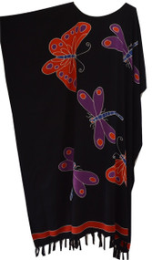 RIA Butterflies and Dragonflies Hand Drawn Kaftan in Buttersoft Rayon Fabric - Freesize