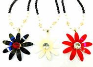 Big DAISY Flower Pendant Chain Chunky Statement Jewellery Long Beads Necklace