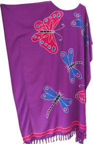 RIA Purple Butterflies and Dragonflies Hand Drawn Kaftan in Buttersoft Rayon Fabric - Freesize