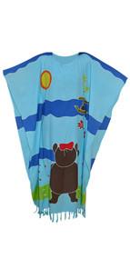 TEDDY BEAR HandPainted Girls Kaftan Caftan Soft Beach Dress CoverUp Long Top Kids Child