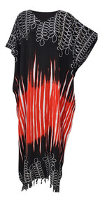 BORNEO Soft Tie Dyed Leaf Kaftan Caftan Cool Long Ladies Summer Dress Plus Beach Cover Up