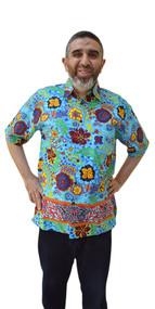 RAFFLESIA Designer Handmade Cotton Batik Top Hawaii Shirt Mens Short Sleeved Vacation Holiday Sports Designer