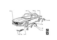 BMW 2800cs 3.0cs Center Hood Trim Moulding