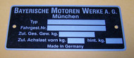BMW 2002 3.0cs NK Chassis Identification Plate