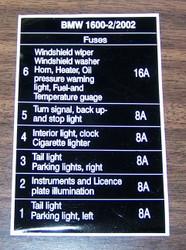 BMW 1600-2 2002 6-Place Fuses Sticker