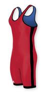 Red - Royal - Black Side Stripe Adidas aS103r Reversible Lycra Stock Singlet