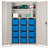 Tray Storage Teachers Cupboard - 12 Extra Deep Yellow Trays 1830x1120x457mm (724518YELL12)