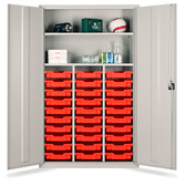 Tray Storage Teachers Cupboard - 30 Shallow Yellow Trays 1830x1120x457mm (724518YELL30)