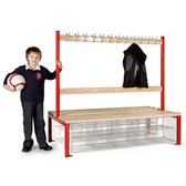 Double Sided School Cloakroom Island Seating Plus 16 Compartments 1370(h) x 760(d) x 1200(l)mm