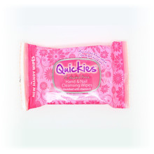 Quickies Alcohol Free Hand & Nail Cleansing Travel Wipes 12s