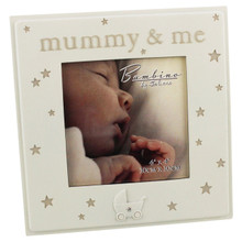 "Mummy & Me - beautiful Bambino cream resin 4 x 4"" frame with stars"
