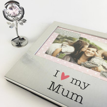 "I Love My Mum 6"" x 4"" Aluminium Frame  with a rose flower"