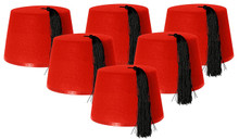6 X FEZ HAT RED FANCY DRESS ACCESSORY CAP RED WITH BLACK TASSEL UNISEX FELT HAT MENS & WOMENS