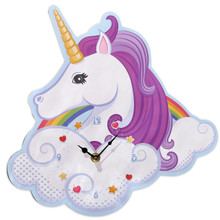 Rainbow Unicorn Wall Clock Shaped Wooden Children's Bedroom Feature 31cm x 30cm