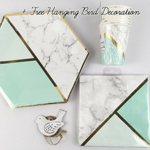 Mint Marble Special Occasion Tableware Party Pack | Cups Napkins Plates
