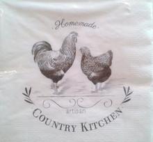 GISELA GRAHAM Pack of 20 Off White Paper Country Kitchen Print Napkin