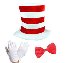 Adult Cat in the Hat Bow Tie & Gloves Kit Fancy Dress World Book Day