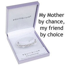 Silver Plated Mum Bangle With The Inscription - 'My Mother By Chance, My Friend By Choice'