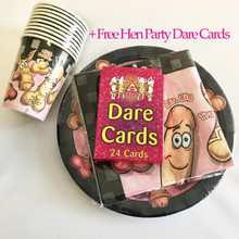 Hen Party Willy Tableware Party Pack for 10 | Plates | Cups | Napkins | Dare Cards