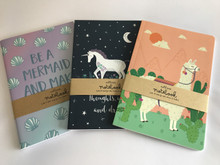 Set of 3 A5 Size Notebooks - Mermaid, Llama, Unicorn