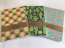 Set of 3 A5 Size Notebooks - Flamingo, Cactus, Pineapple