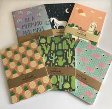 Set of 6 A5 Size Notebooks - Mermaid, Llama, Unicorn, Flamingo, Cactus, Pineapple