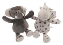 Elli & Raff Pair of Soft Plush Grey and Cream 18cm Toys